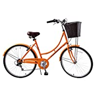 "Ammaco Classique 26"" Wheel Heritage Traditional Classic Ladies Lifestyle Bike & Basket 16"" Frame Dutch Style Orange"