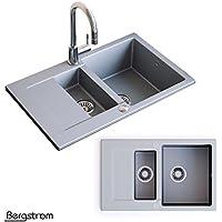 Granit Verbundspüle Küchen Einbau Auflage Spüle Doppelbecken Spülbecken + Siphon (Grau)