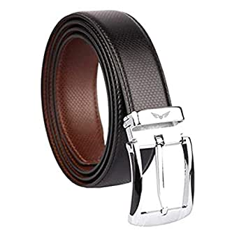 Axe Style ARTIFICIAL PU Leather Boy's Casual & Formal Reversible Belt Black/Brown (Size 28-44 Cut to fit men's Belt) (Black & Brown)