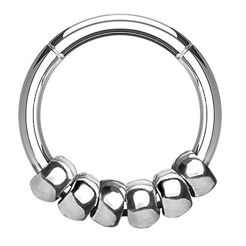 Piercingfaktor® Piercing Ring Clicker Tribal mit Beads Ringe Anhänger Septum Ohr Nase Lippe Intim Tragus Helix Hufeisen Horseshoe Silber Silber