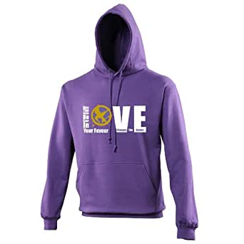 Love Changes The Games - May The Odds Be Ever In Your Favour - The Hunger Games Hoodie (X-Large, Purple)