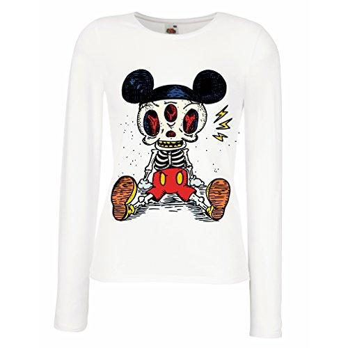 Weibliche Langen Ärmeln T-Shirt Skelett Einer Maus (XX-Large Weiß Mehrfarben)