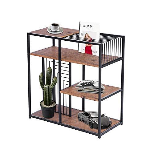 Aingoo Büro-Bücherregale 3-Tier Vintage Standregal Open Storage Display Regal mit Metallrahmen für Home Office, Braun