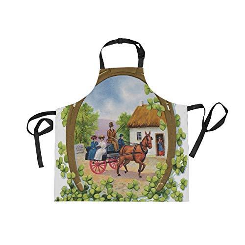 XiangHeFu Schürzen mit 2 Taschen Carriage St Patricks Tag 27,5 x 29 Zoll Verstellbarer Umhängeband für Männer Frauen Kochen Backen Chef Küche
