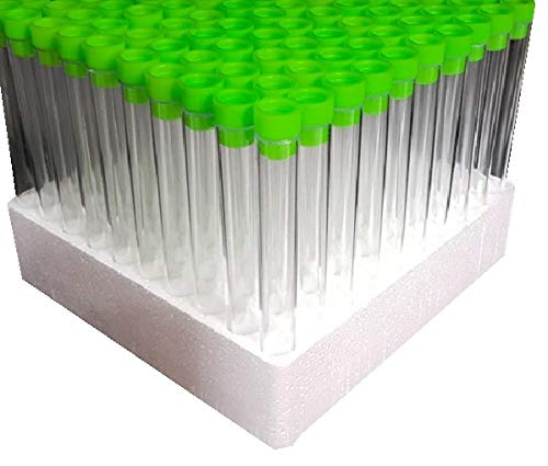100 x 6 Inch Test Tubes with Tops (Lime Green) by Plastic Test Tubes LTD -