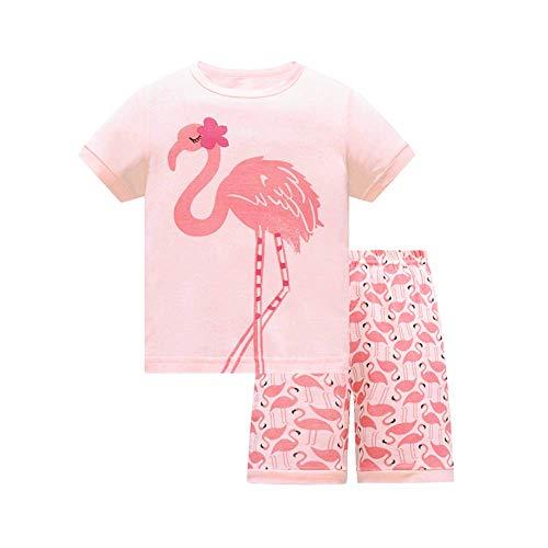 HIKIDS Mädchen Kurz Schlafanzug Mädchen Rosa Flamingo Short Zweiteiliger Schlafanzug Kinder Sommer Bekleidung Nachtwäsche Pyjama Set 128 - Flamingo Pyjama
