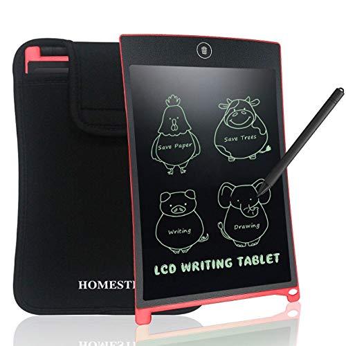 NEWYES Tavoletta Grafica LCD con Custodia, 8.5 Pollici Tablet da Disegno Lavagna Elettronica Scrittura Digitale, Diversi Colori per Bambin(Rosso+Caso)