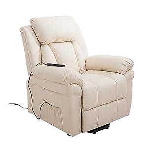 HOMCOM Elektrischer Fernsehsessel Aufstehsessel Relaxsessel Sessel mit Aufstehhilfe (creme)