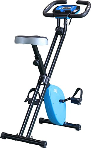 Vivo © Foldable Magnetic Exercise X Bike For Cardio Fitness Workout Weight Loss Body Tine Cycle Bicycle Folding Home Cycling Machine with iPad / Samsung / Tablet Holder – Blue