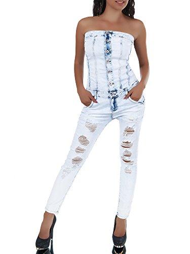 N366 Jumpsuit Hochbund Jeans Overall Einteiler Hosenanzug Corsage Catsuit Baggy, Farben:Blau;Größen:36 (S)