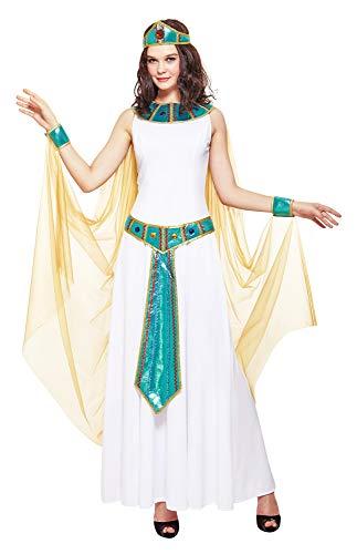 Das Kostümland Deluxe Cleopatra Nilkönigin Kostüm für Damen - Weiß Türkis - Gr. L