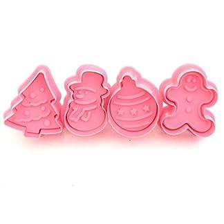 Kongqiabona DIY 4PCS / Set Pastel de Galletas de Navidad de plástico Molde para Hornear de Chocolate Molde para Hornear Decoración de Chocolate Herramientas para Hornear de Cocina