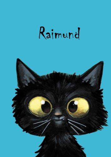 Raimund: Personalisiertes Notizbuch, DIN A5, 80 blanko Seiten mit kleiner Katze auf jeder rechten unteren Seite. Durch Vornamen auf dem Cover, eine Coverfinish. Über 2500 Namen bereits verf