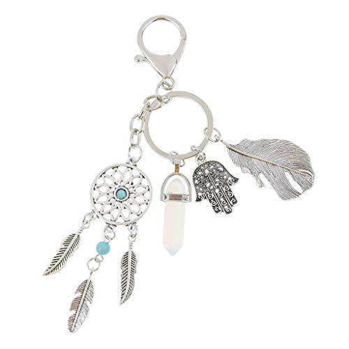 Baoblaze Metall Schlüsselanhänger Traumfänger Anhänger Charme Federn Karbainerhaken Schlüsselring Schlüsselbund Taschenanhänger - Transparent Blau