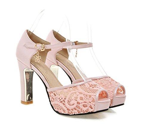 YOGLY Sandalias de Tacón Alto de la Princesa Dulce Zapatos de Encaje de Moda Mujer Sandalias de Verano Zapatos de Boca de Pescado