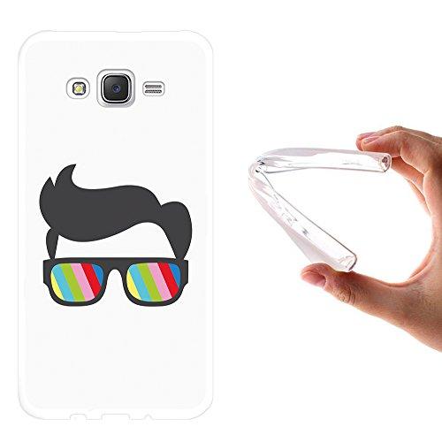 WoowCase Samsung Galaxy J7 2015 Hülle, Handyhülle Silikon für [ Samsung Galaxy J7 2015 ] Sonnenbrille und Nerd Stil Handytasche Handy Cover Case Schutzhülle Flexible TPU - Transparent