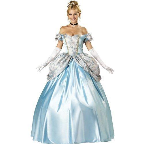 Damen Sexy Deluxe Cinderella Kostüm Volle Länge Erwachsenen Kostüm Verkleidung - Damen: EU (Cinderella Erwachsene Outfit)