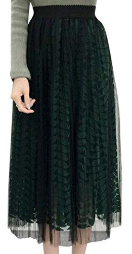 erdbeerloft - Damen Chiffonartiger Midirock mit Muster, Viele Farben Dunkelgrün