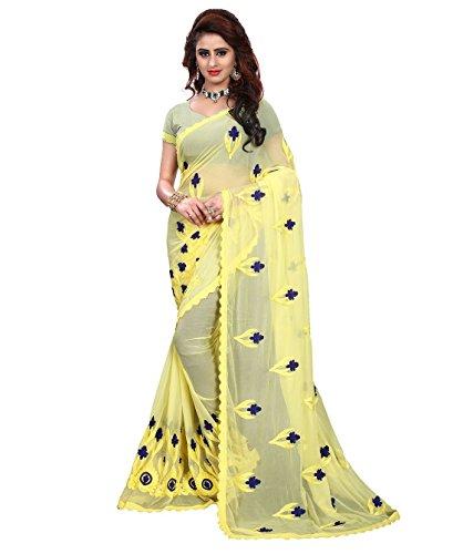 Riva Enterprise women's chiffon embroidred saree (yellow)