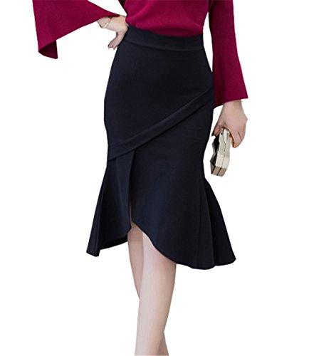 DaBag Donna A Vita Alta Gonne A Pieghe Abito Asimmetrica Elegante Slim Fit Kilt Sexy Gonna Pantalone Nero