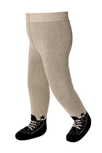 Baby Emporio - Baby Strumpfhosen im Schuh-Design für Jungen - weiche Baumwolle & Anti-Rutsch-Sohlen - 6-12Monate - Braun (Schuh-design-socken)