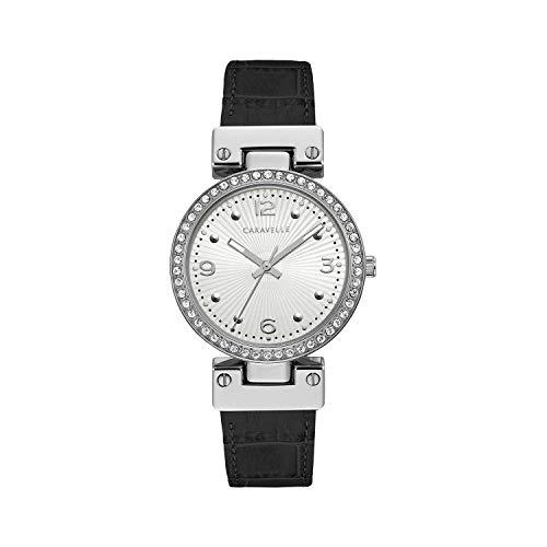 Caravelle donne orologio al quarzo, in acciaio INOX e pelle, colore: Bianco (Model: 43L208)