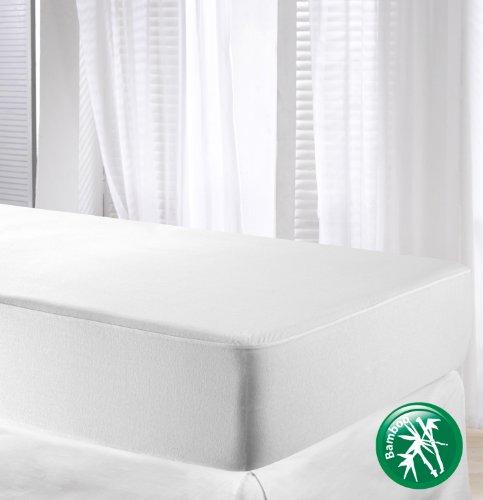 Bambú Velfont impermeable y transpirable tejidos/Protector de colchón de bambú, blanco, Double Size (135x190/200cm)