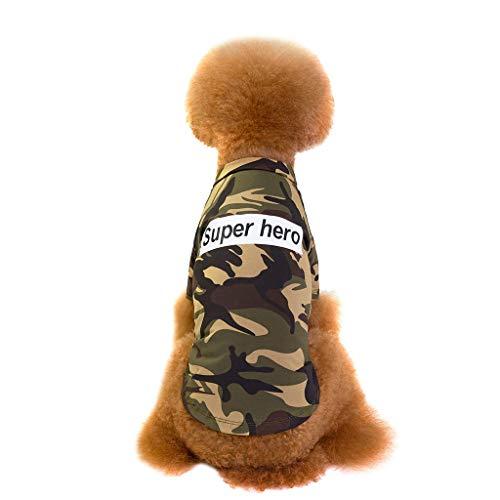 Kaiki Herbst und Winter Haustier Kleidung mit Brief Super Hero, Mode Mantel Overall Kostüm Camouflage Kleidung für Hunde und Katzen, Tarnung warmes Sweatershirt Hoodie (L, (Günstige Hero Kostüm)