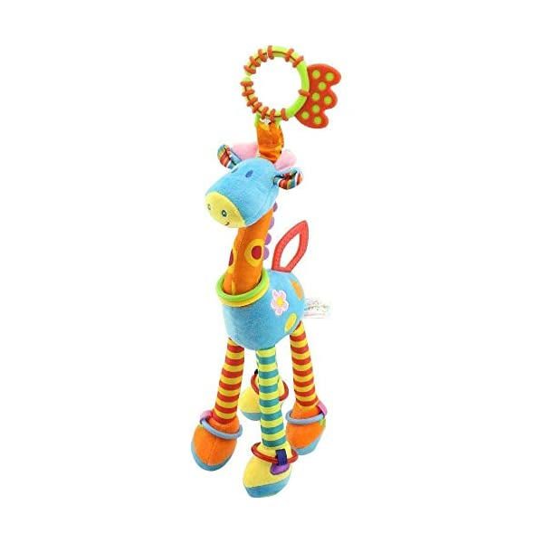 JAMSWALL Baby Plush Toy Giraffe Toy Developmental Interactive Toy Infant Baby Development Soft Giraffe Animal Handbell Rattles Handle Toys For Crib High Chair And Interactive Playing 1