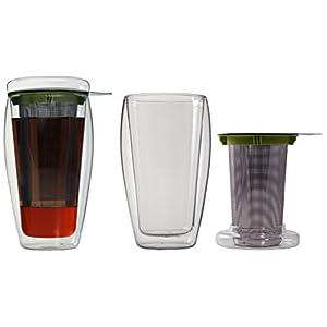 """AKTION: 400ml XL doppelwandiger Eistee-/Teebereiter mit Filter und Glasdeckel (4go Thermoglas mit Schwebe-Effekt), ideal für Eistee, fürs Büro, unterwegs oder als Geschenk, """"4go"""" von Feelino …"""