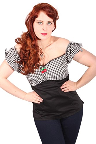 Gingham rockabilly retro Cherry Karo fifties Kirschen Carmen Shirt TOP -