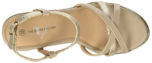 The Divine Factory Alissia, Sandales Plateforme Femme Beige (Beige)