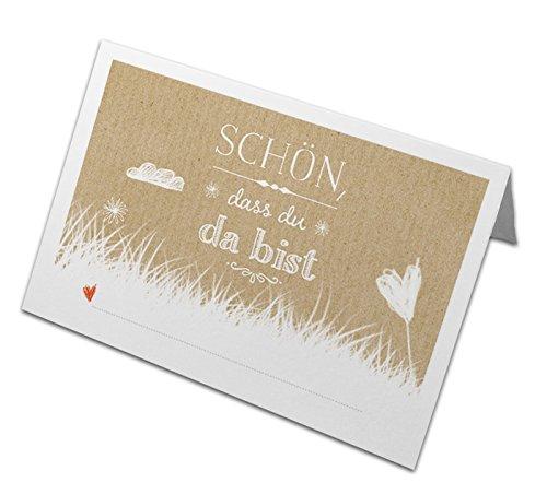 50 Tischkarten - Schön, dass du da bist | BEIGE | edle Namenskarten, Platzkarten zum Beschriften | für Hochzeit, Hochzeitsfeier, Geburtstag, Familienfeier & Jubiläum | Recyclingpapier, CO2 neutral