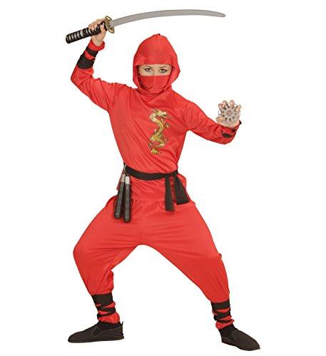 NINJA Fighter Kinder Jungen Kostüm Black Red Dragon Fire Dragon Samurai Ninjago, Ninja:Red Ninja Dragon 140 - (140 cm / 8-10 ()