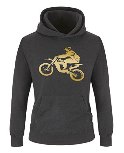 Comedy Shirts - Motorcross Motorrad - Jungen Hoodie - Schwarz/Gold Gr. 134/146 (Für Jungen Outfits Prinz)