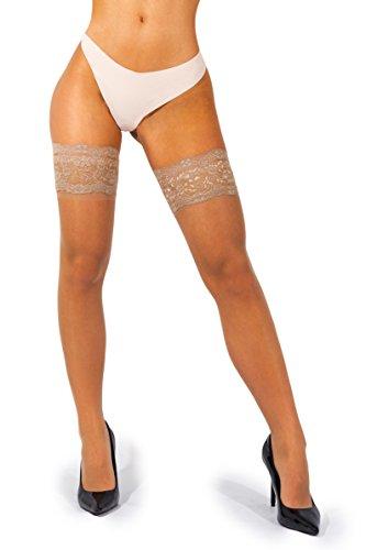 sofsy Lace Oberschenkel High Sheer Strumpfhosen Nylon Strumpfhosen Tief Weit Silikon Top 20 den [Hergestellt in Italien] Natural 1/2 - X-Small/Small (Sexy Damen Natural)