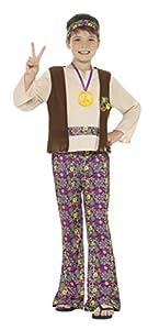 Smiffys DisFRAaz de hippy para chico, multicolor, con camiseta, chaleco cosido, pantalon