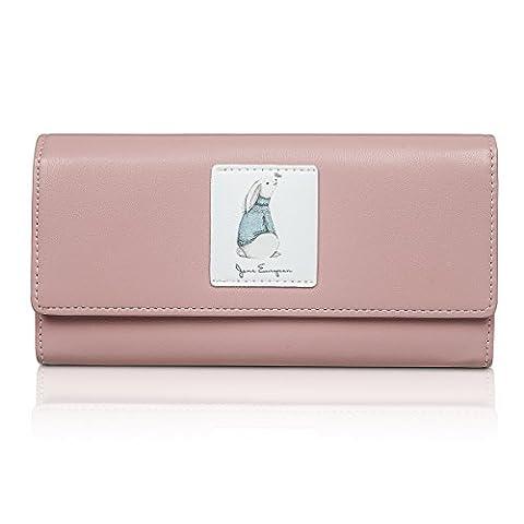Fency Women's Comics Clutch Multi-Card Faux Leather Wallet Long Tri-fold Matte (Pink)