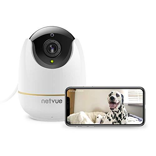 Caméra Surveillance WiFi, Netvue HD Dôme Caméra IP sans Fil avec Zoom 8X, Vision Nocturne, Détection de Mouvement Alerte, Audio bidirectionnel, Pan/Tilt Vidéo pour sécurité à la Maison Bébé/Animaux