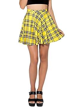 A Cuadros Faldas Mujer Tallas Grandes Elegante Verano Casual Chic Minifalda Corto Falda Plisada Woman Outwear
