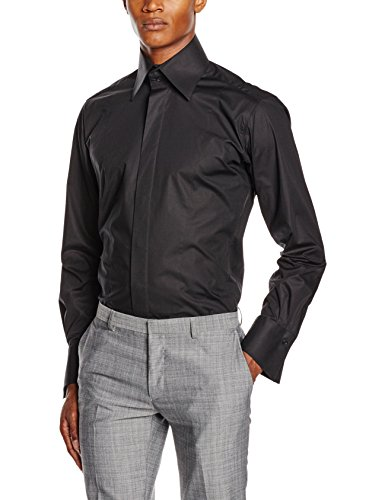 Karl Lagerfeld Herren Businesshemd Shirt Slim Schwarz (Schwarz 990)
