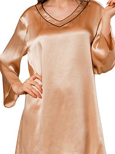 Ellesilk Kimono Inspiré soie chemises de nuit Champagne/Noir