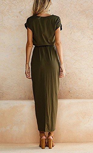Minetom Damen Casual Rundhals Kurzarm Lose Einfarbig Abendkleid Sommerkleid Elegant Asymmetrisch Bandage Lange Kleid Maxi Strand Dress Armee Grün