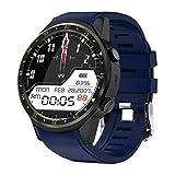 JIHUIA GPS Bluetooth Clever Sehen Kamera Sport SIM TF Karte, Puls Monitor Schlafen Schrittzähler Kompass Anruf/SMS Erinnerung USB-Aufladung IOS Android Uhren,Blue