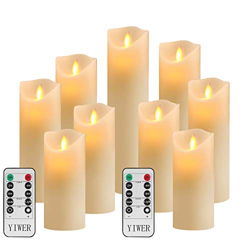 """LED Kerzen,Flammenlose Kerzen D2.2xH 4\""""/5\""""/6\""""/7\""""/8\""""/9\""""inch Set aus 9Echtwachs 10-Tasten Fernbedienung mit 2/4/6/8-Stunden Timer,300+ StundenYIWER (Elfenbein, 9×1)"""