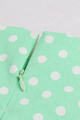 Babyonline – Damen 50er, 60er Vintage Kleid Petticoat Polka Dots Knielang Grün - 5