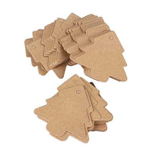 ULTNICE Árbol de cartón de 100pcs etiqueta regalo Kraft etiquetas con cuerda de 20M para Navidad cumpleaños Decor(Brown)