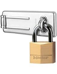 Master Lock 140703EURD Kombiset Set cadenas en laiton 40 mm et porte-cadenas