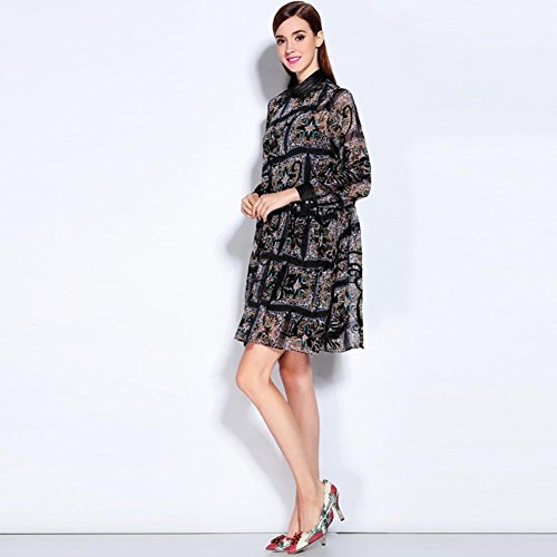 SHISHANG Robe 59% fibre de polyester + 4% Spandex en vrac manches col rond noir d'été Black