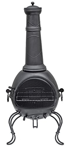 La Hacienda 56063B 136cm XL Murcia Steel Chiminea with Grill - Black